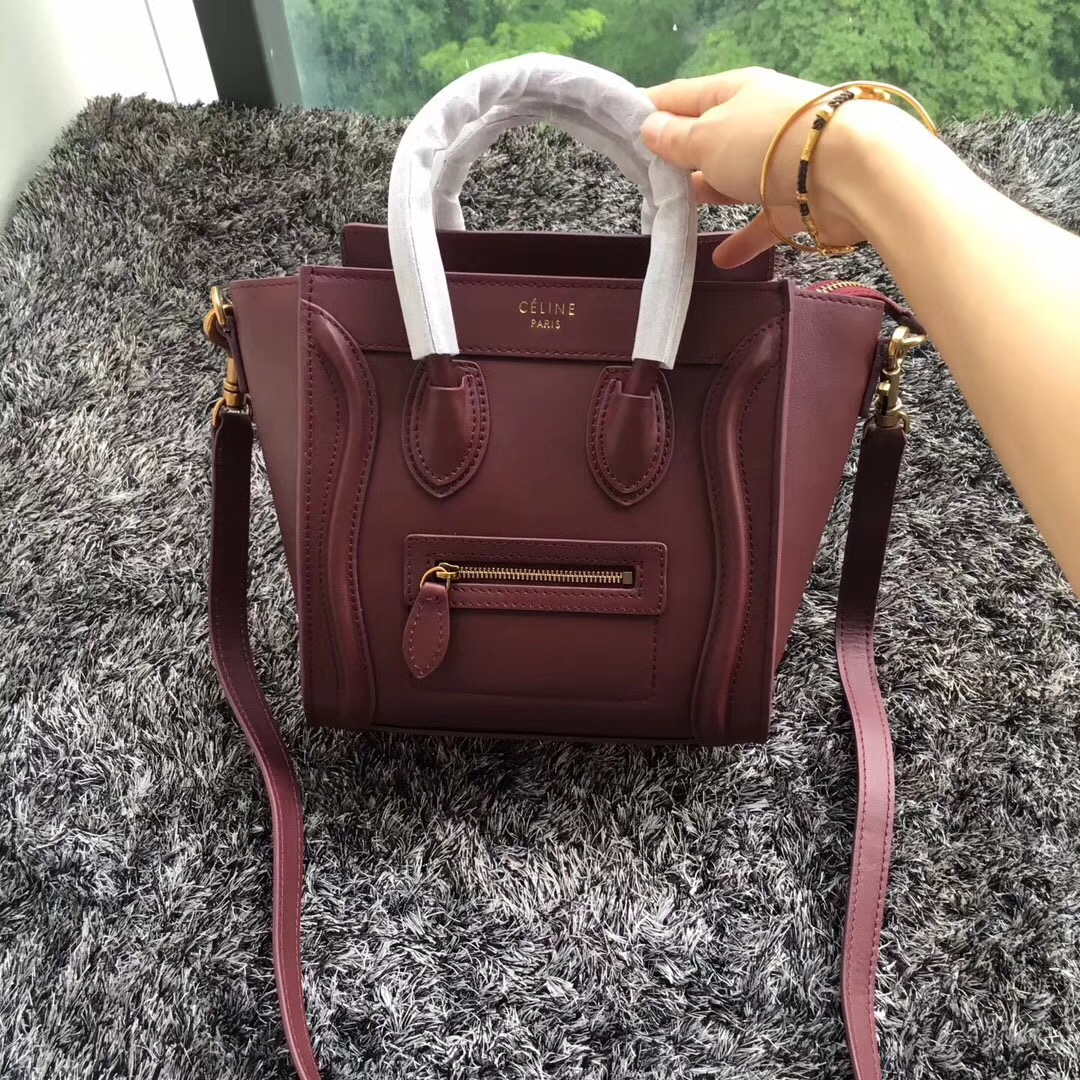 Celine Small Luggage Tote 20cm Burgundy