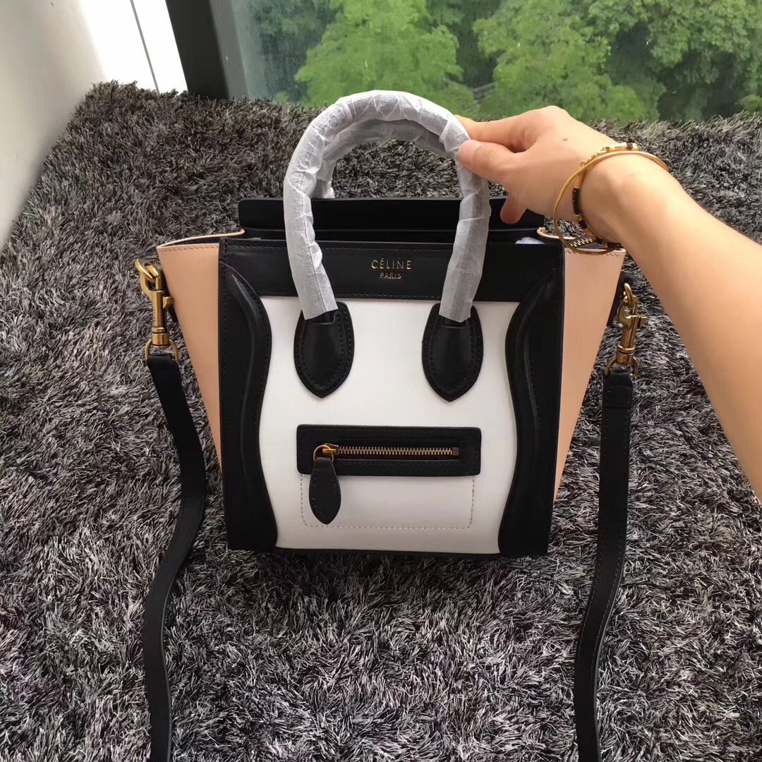 Celine Small Luggage Tote 20cm Multi Color Black