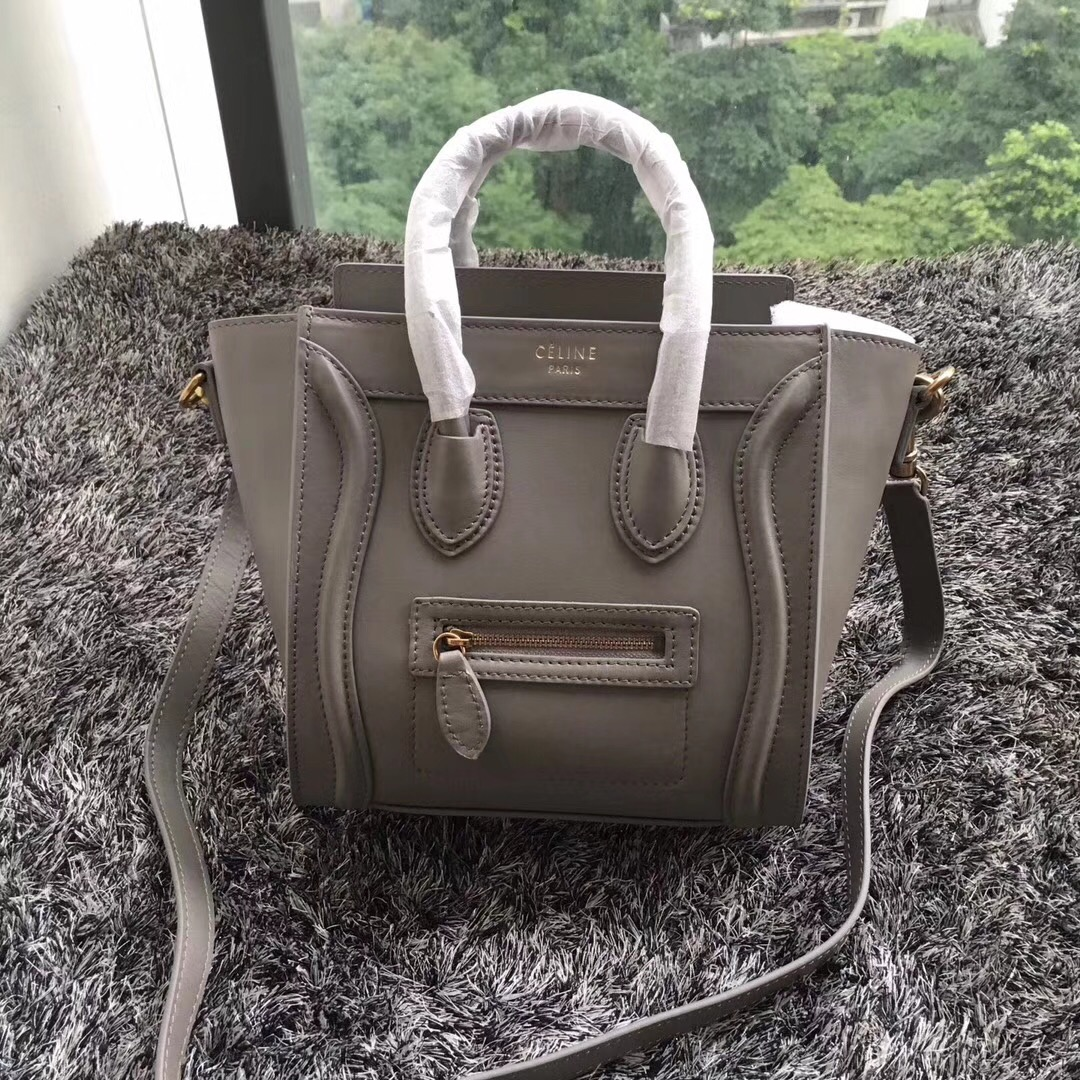 Celine Small Luggage Tote 20cm Smooth Leather Grey