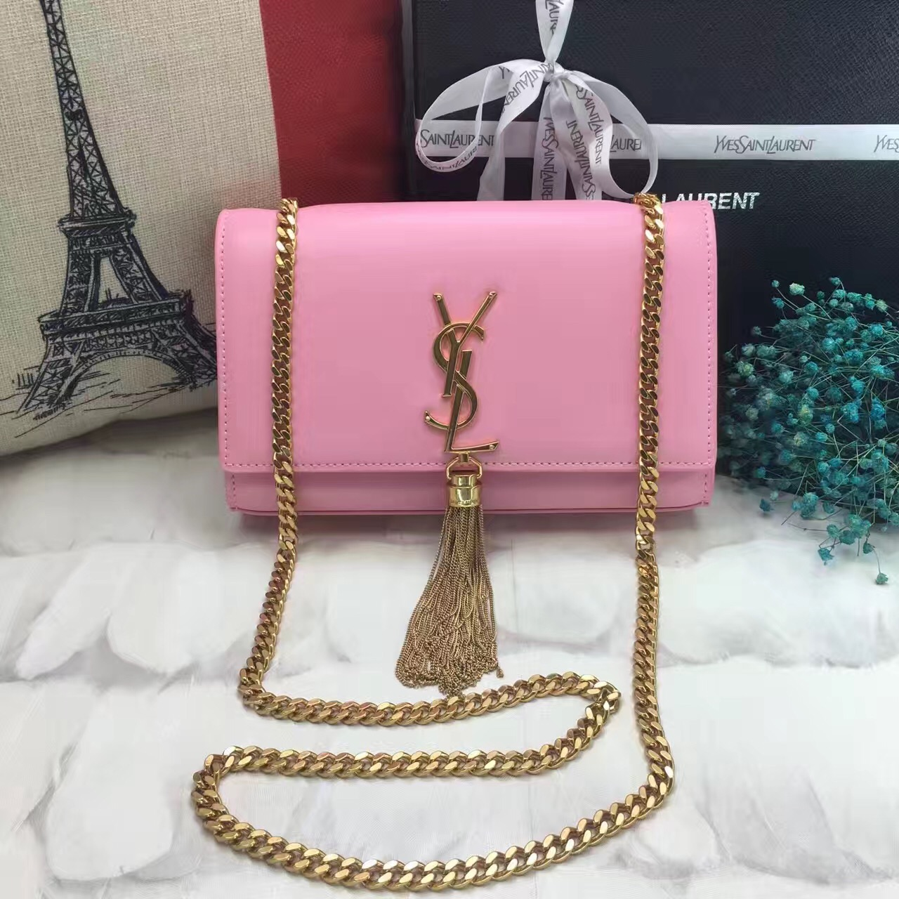 YSL Tassel Chain Bag 22cm Smooth Leather Pink Gold