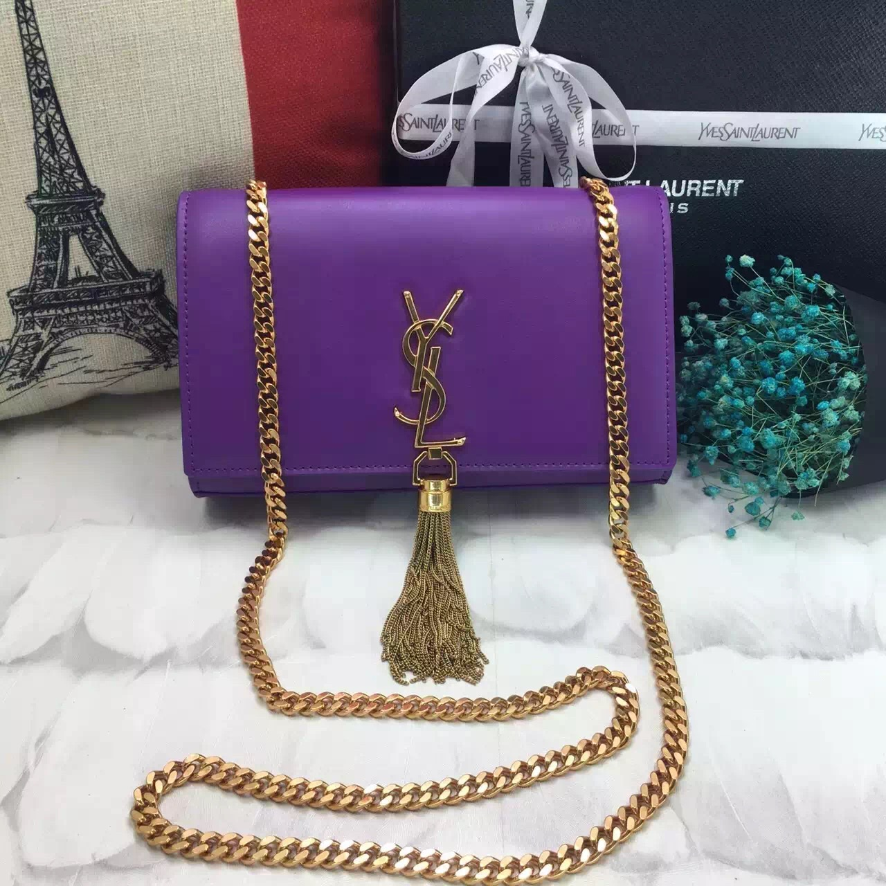 YSL Tassel Chain Bag 22cm Smooth Leather Purple Gold