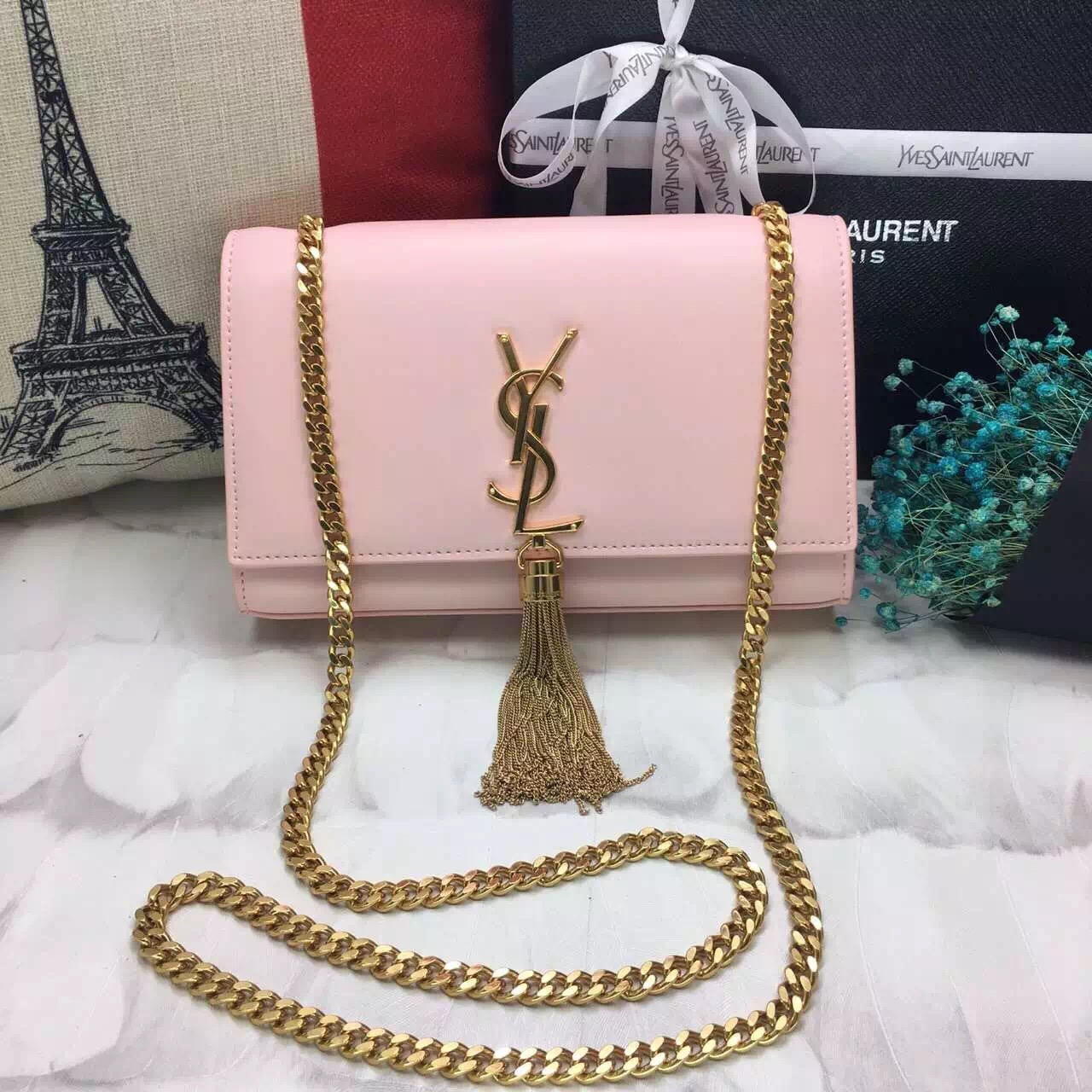 YSL Tassel Chain Bag 22cm Smooth Leather Light Pink Gold