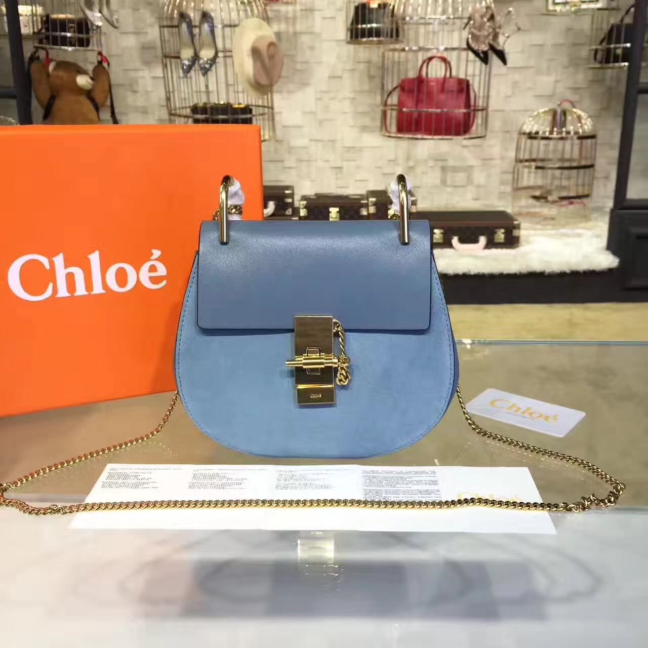 Chloe Drew Crossbody Bag Large 23cm Blue Suede