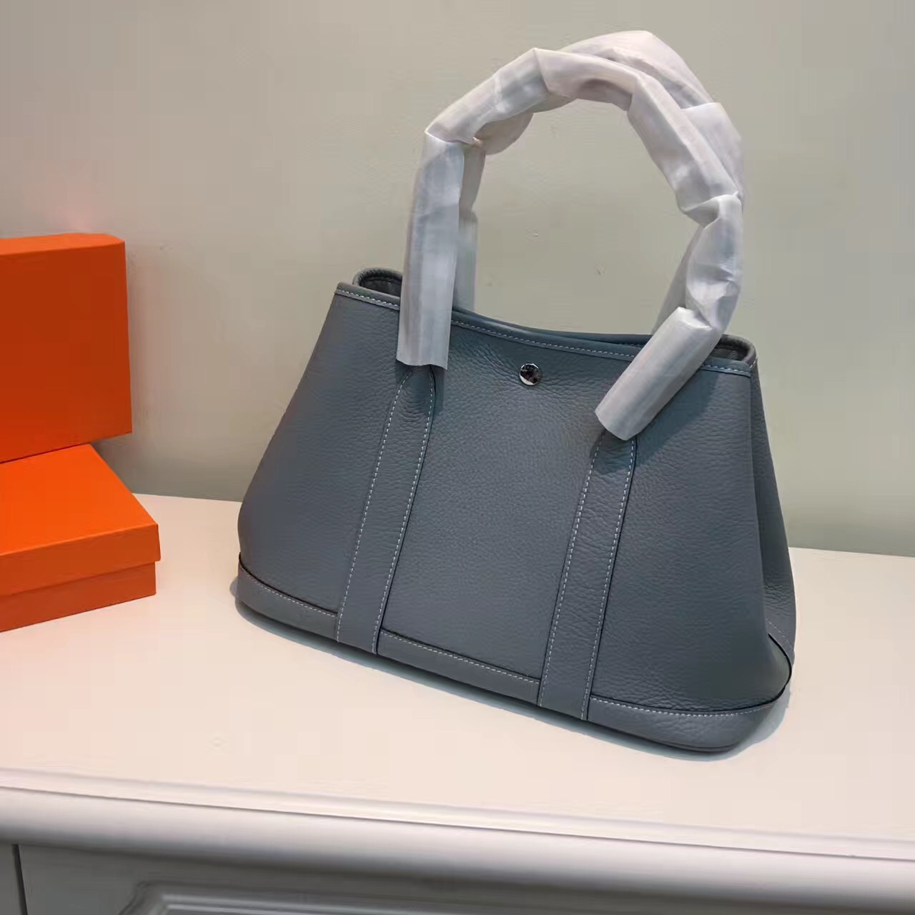 Hermes Garden Party Handbag Small 31cm Grey Blue