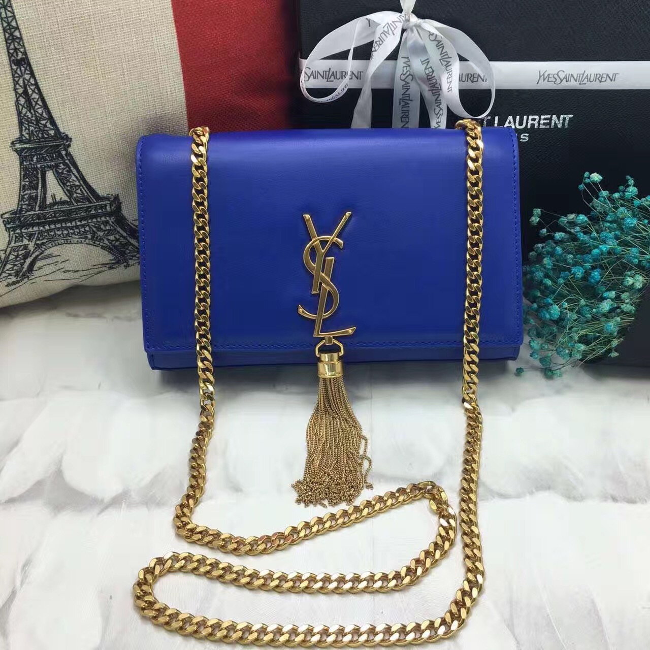 YSL Tassel Chain Bag 22cm Smooth Leather Blue Gold