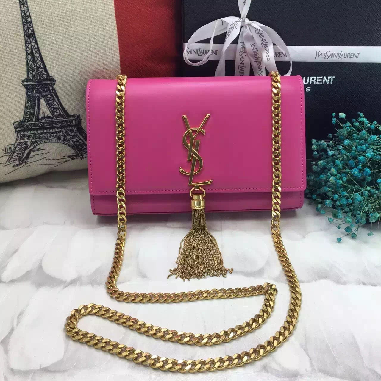 8bf31c8f8fc YSL Tassel Chain Bag 22cm Smooth Leather Rose Gold  RH1051    Buy ...