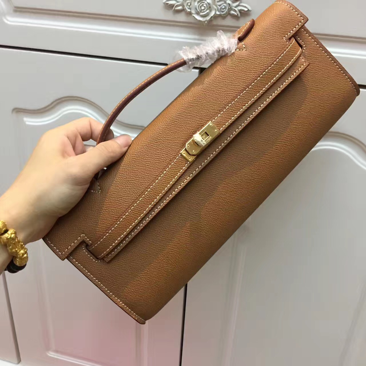 Hermes Kelly Cut 31cm Epsom Leather Clutch Brown