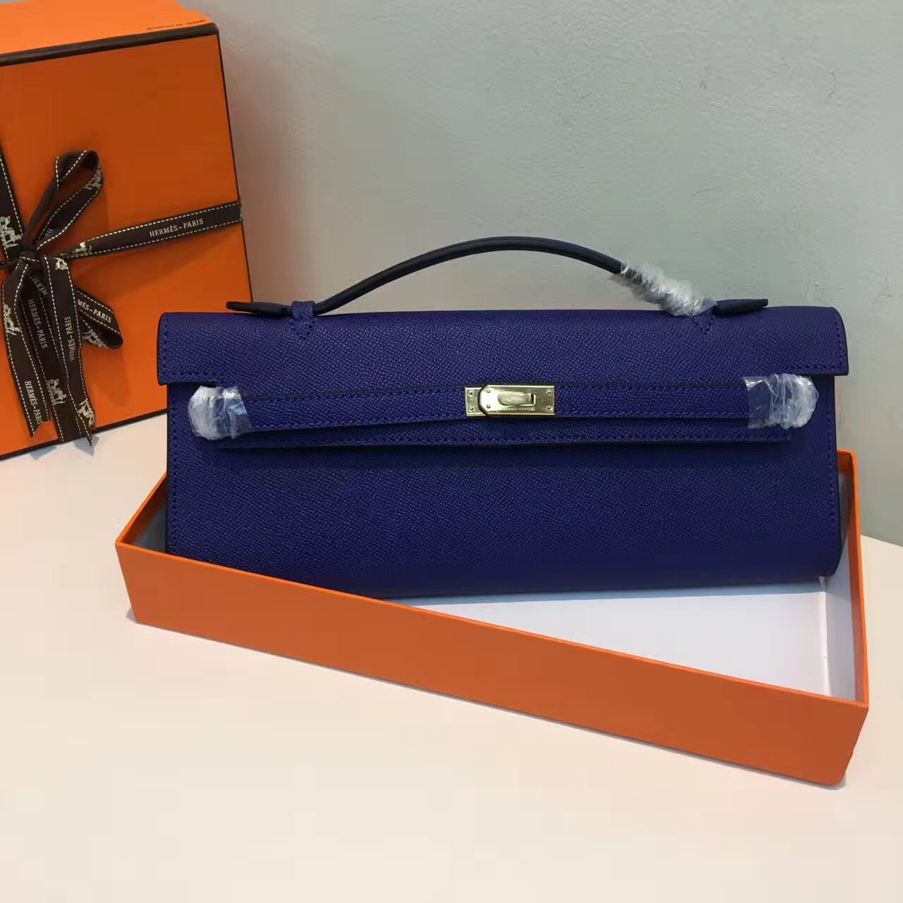 Hermes Kelly Cut 31cm Epsom Leather Clutch Electric Blue