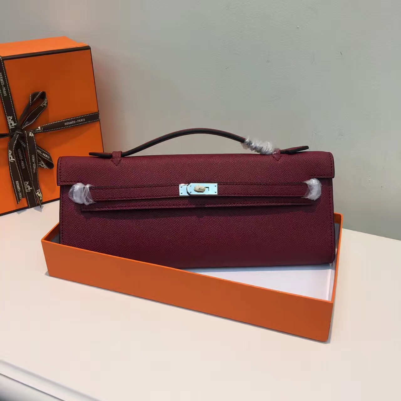 Hermes Kelly Cut 31cm Epsom Leather Clutch Burgundy