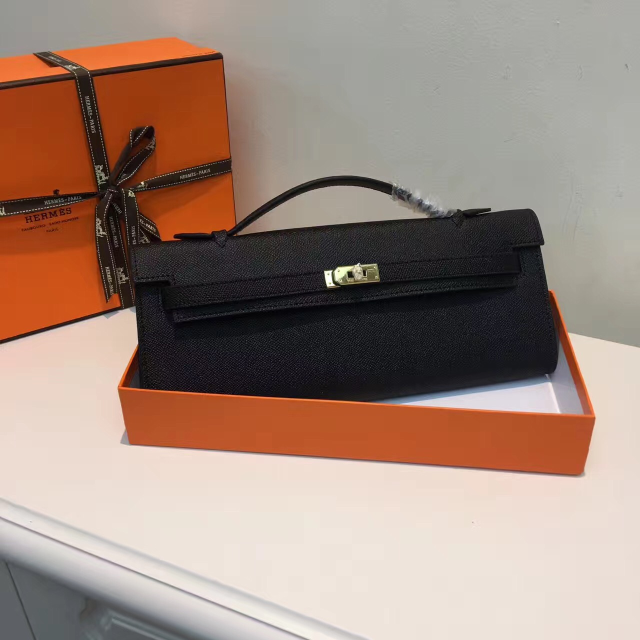 Hermes Kelly Cut 31cm Epsom Leather Clutch Black