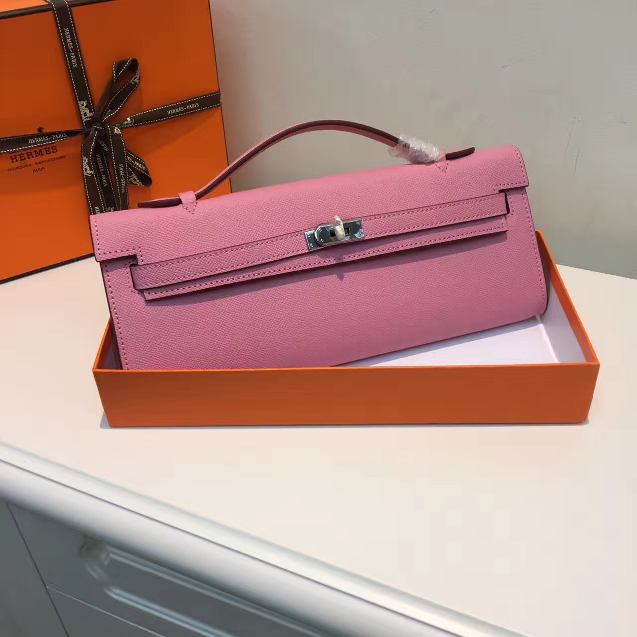 Hermes Kelly Cut 31cm Epsom Leather Clutch Pink