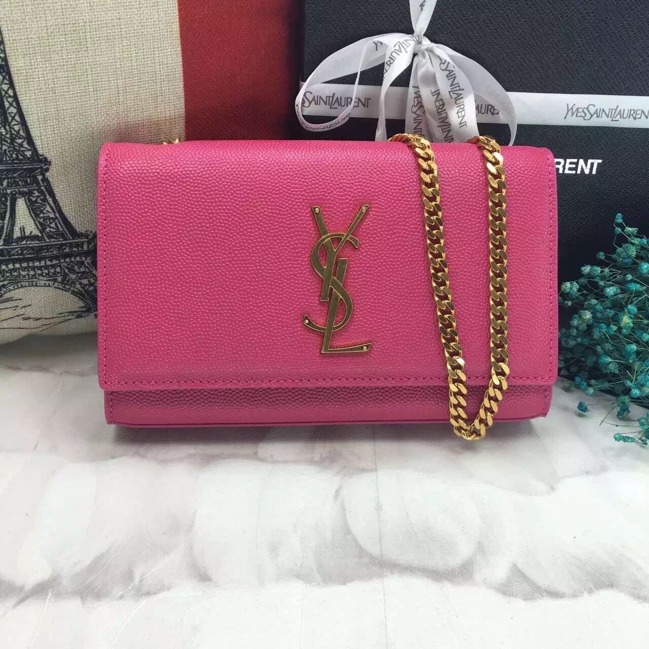 YSL Caviar Leather Chain Bag 22cm Rose Gold