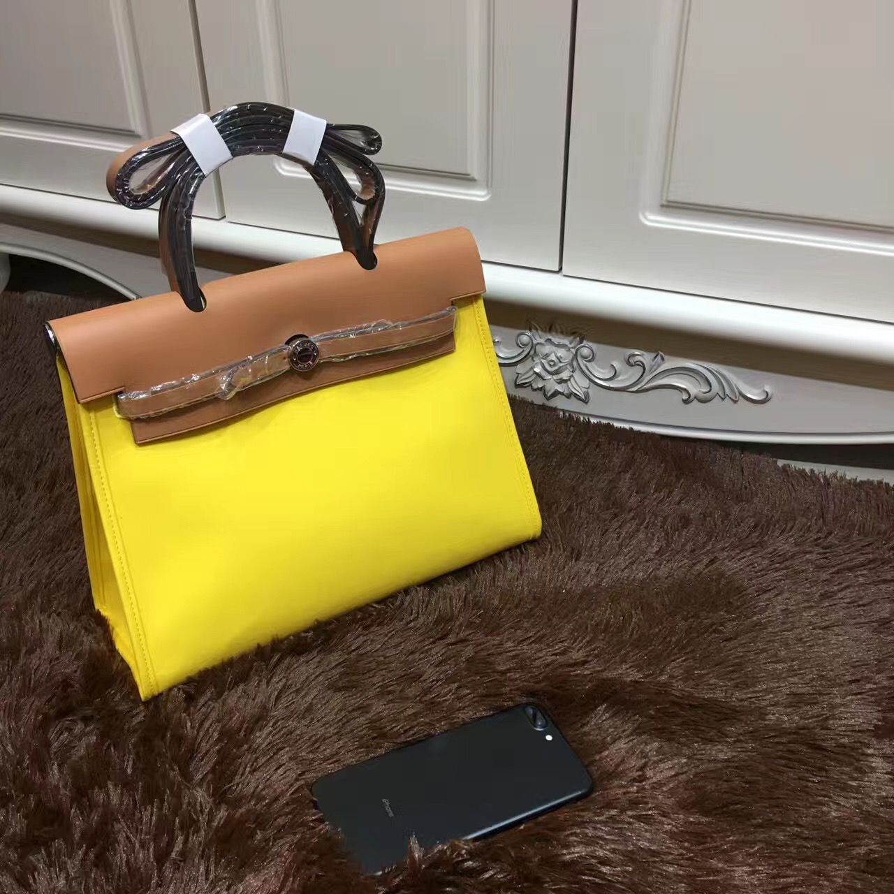Hermes Herbag 31cm Yellow Canvas Bag