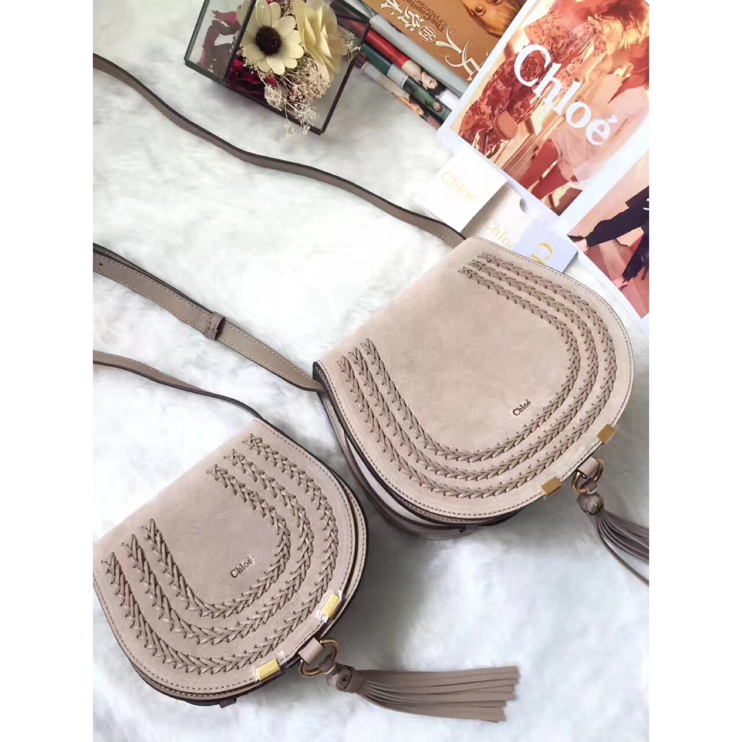 Chloe Marcie Grey Suede Crossbody Bag Size 19cm and 24cm