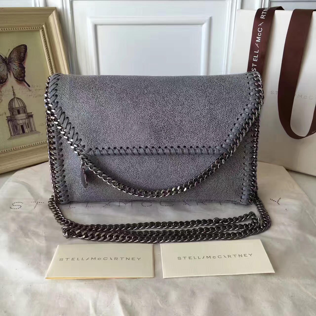 Stella McCartney Falabella Shaggy Deer Mini Bag Grey