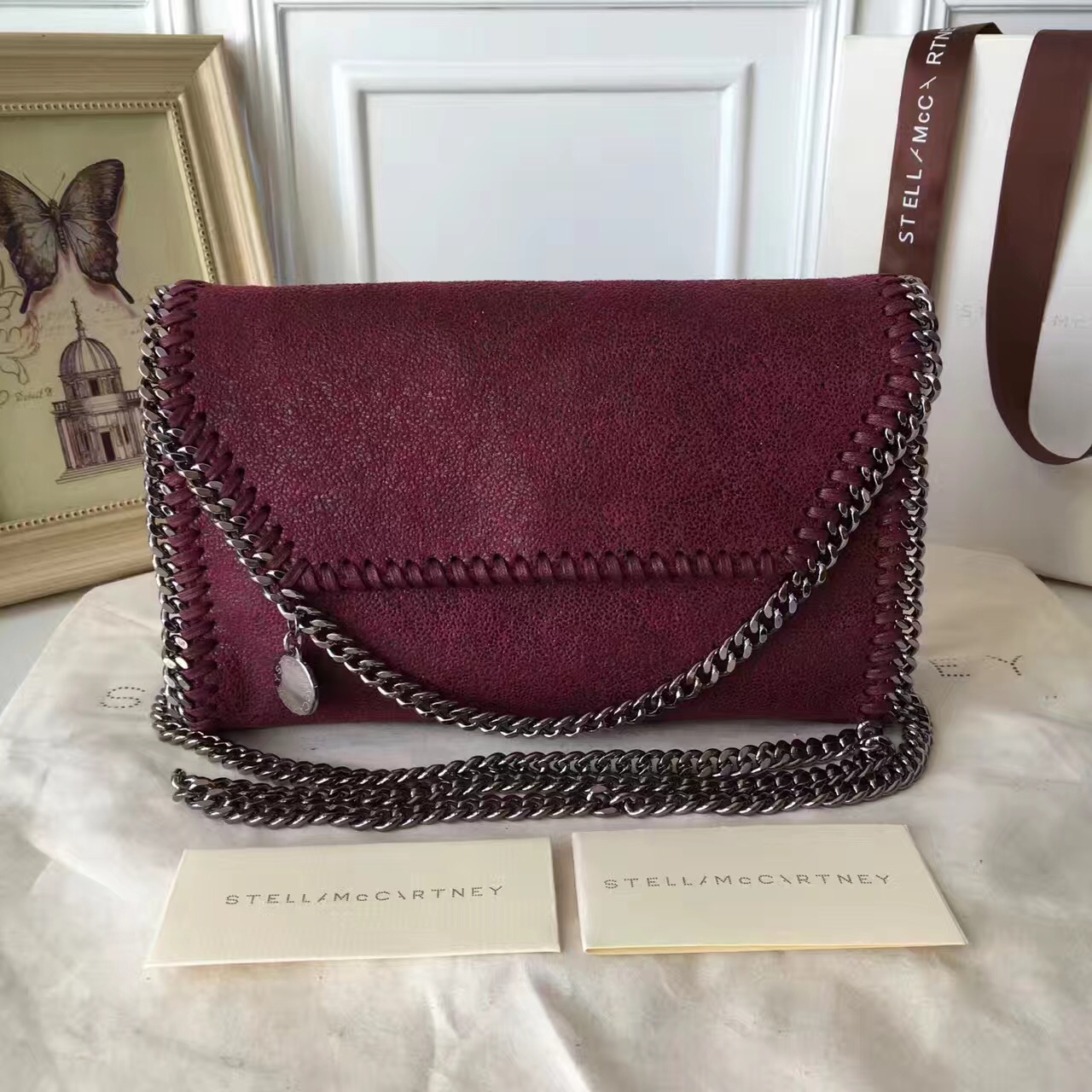 Stella McCartney Falabella Shaggy Deer Mini Bag Burgundy