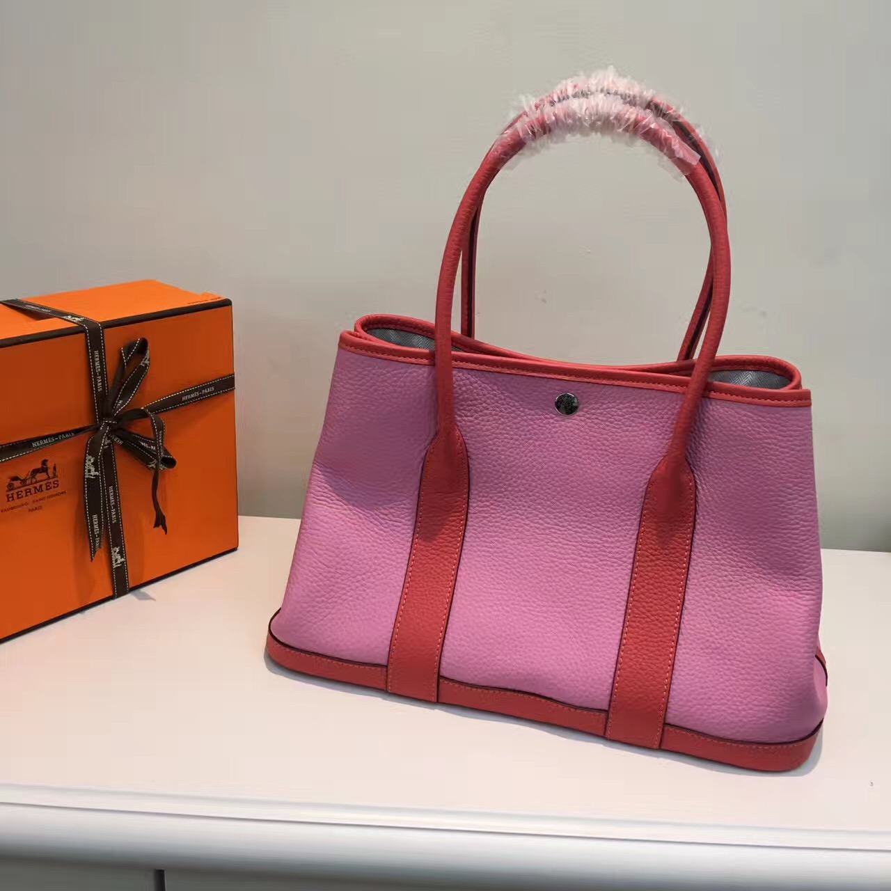 Hermes Garden Party 36cm Leather Handbag Pink Watermelon Red