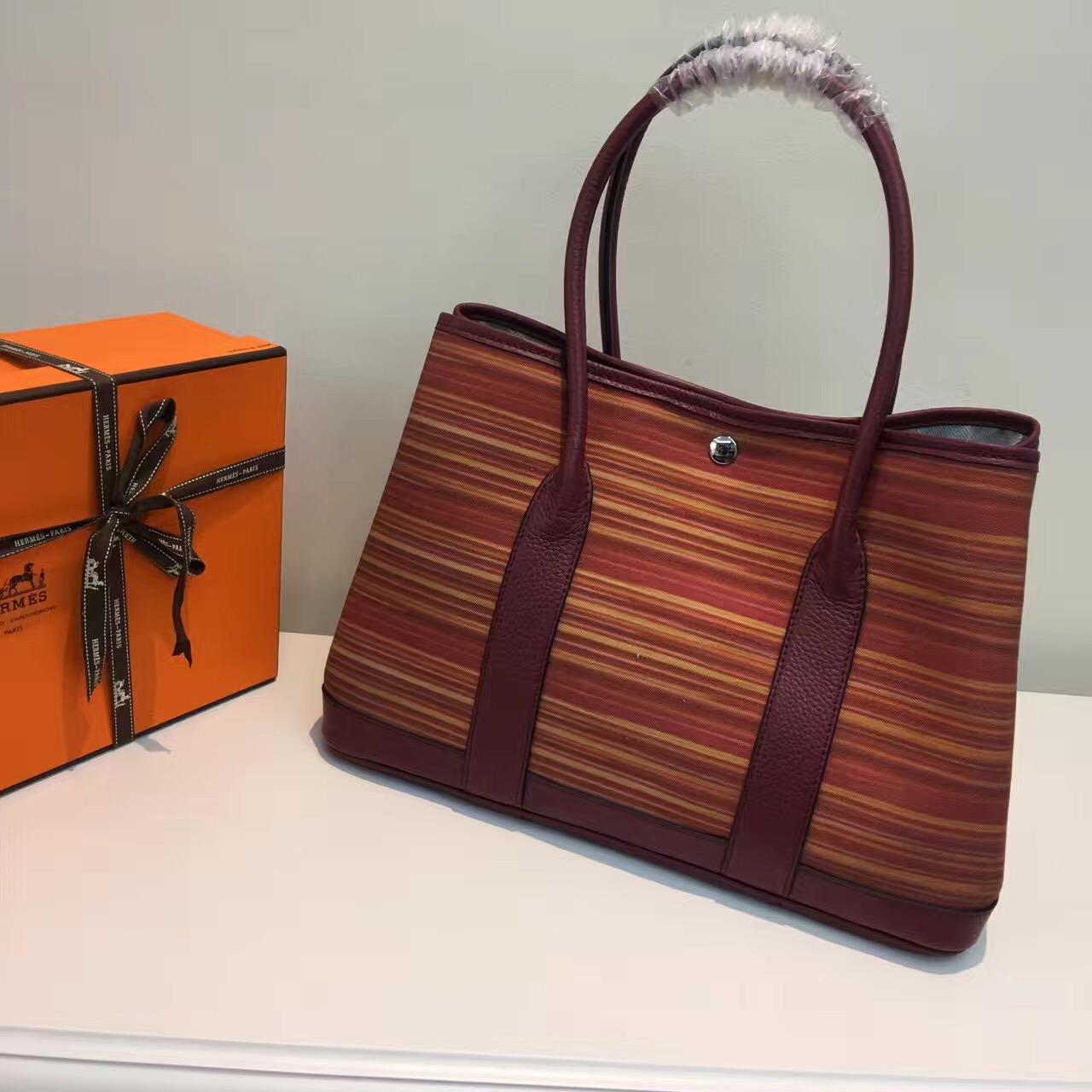 4725ed26a41b Hermes Garden Party 36cm Canvas Handbag Burgundy