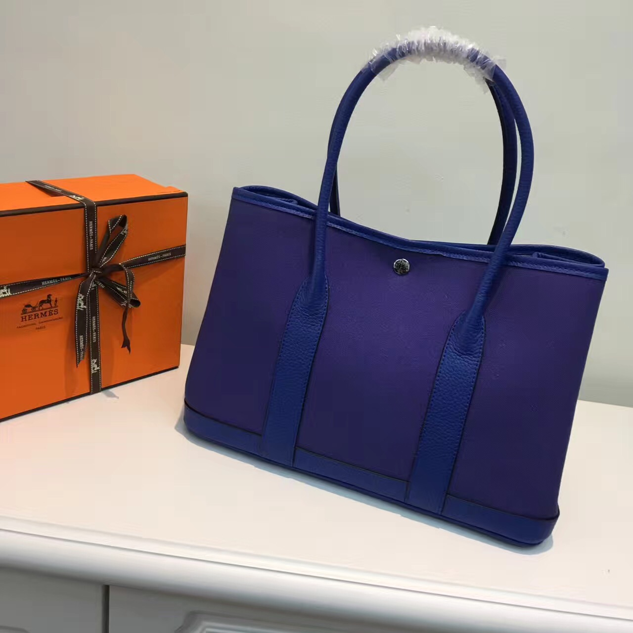 Hermes Garden Party 36cm Canvas Handbag Electric Blue
