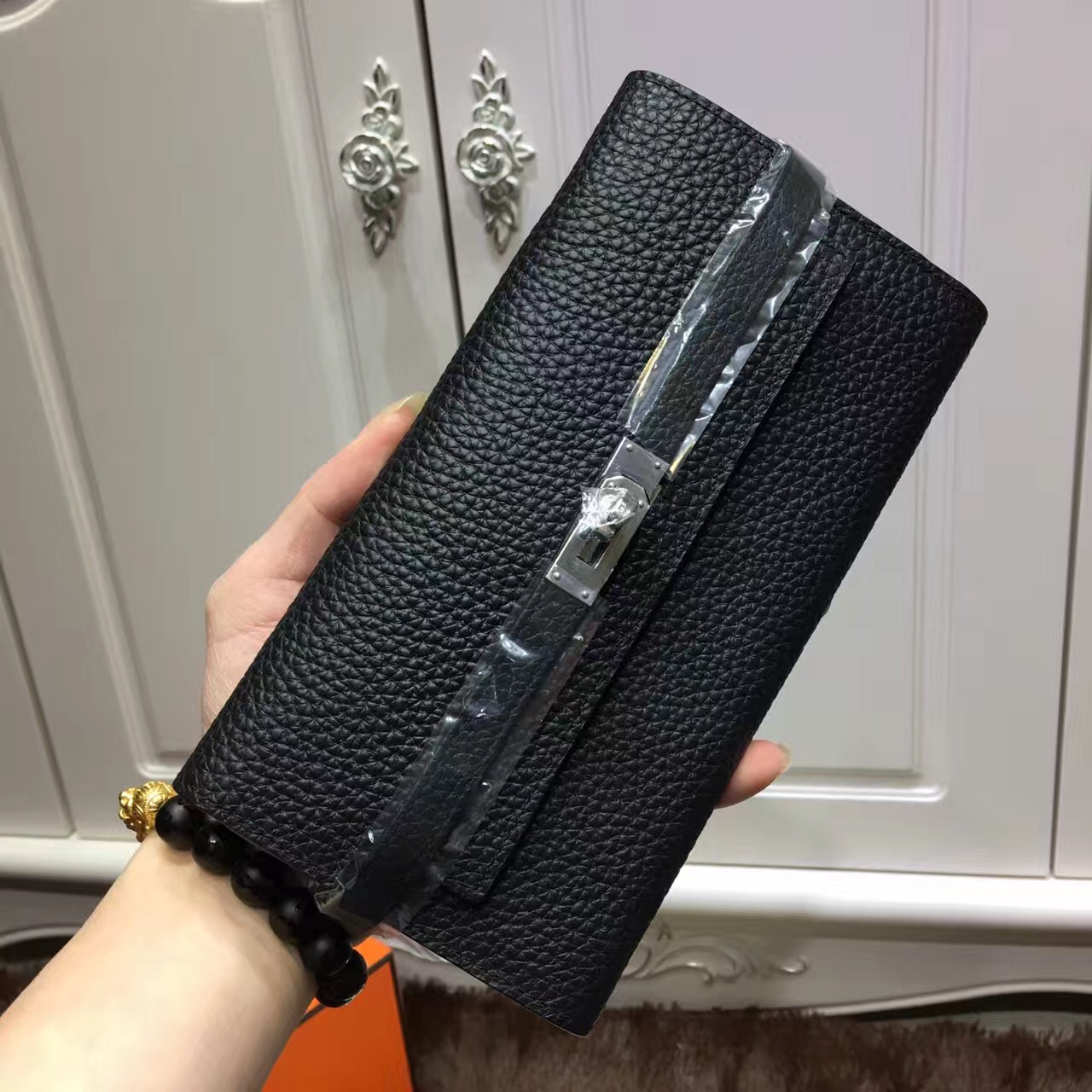 Hermes Kelly Wallet Togo Leather Black