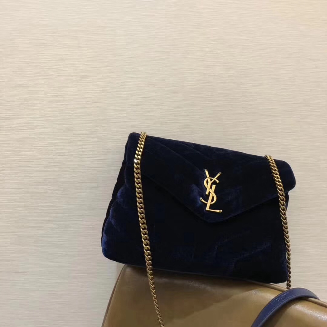 YSL Velvet Loulou Chain Shoulder Bag 25cm Blue