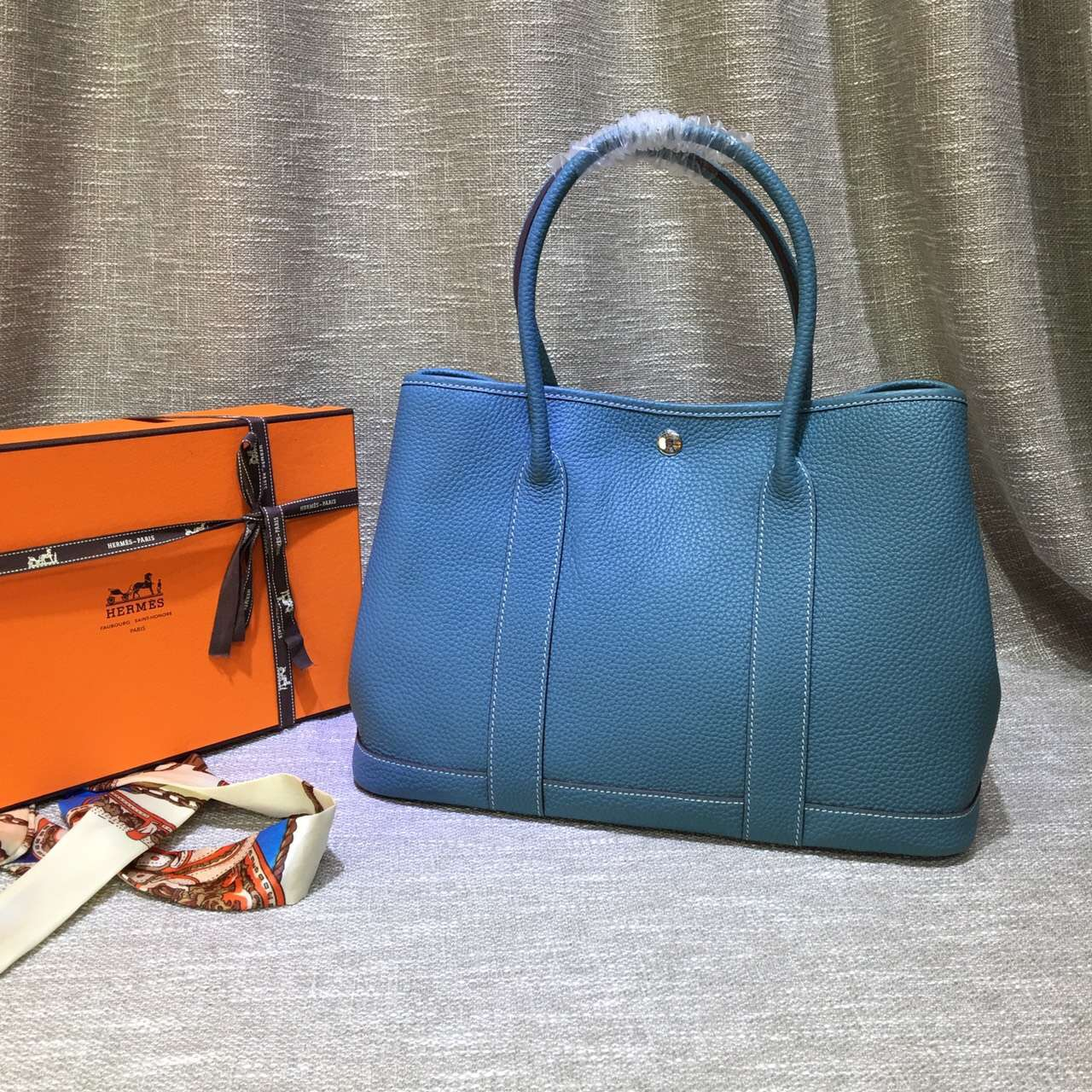 Hermes Garden Party Handbag Large 36cm Blue