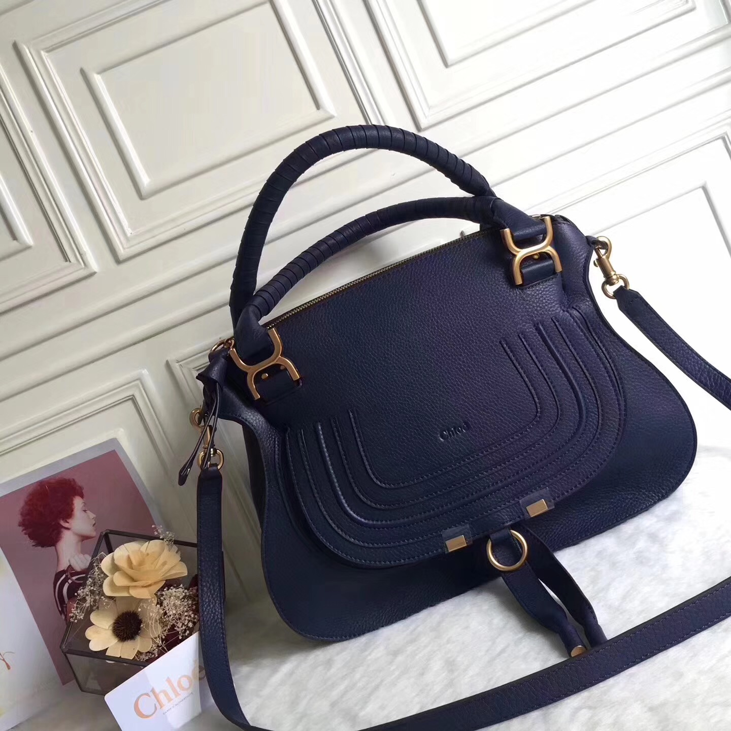 Chloe Marcie Cow Leather Tote Handbag Dark Blue