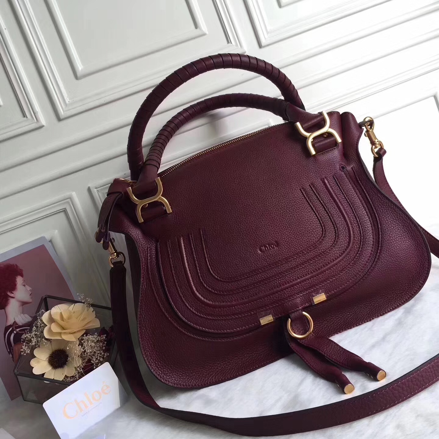c3c0560fd8a Chloe Marcie Cow Leather Tote Handbag Burgundy [RH0128] : Buy ...