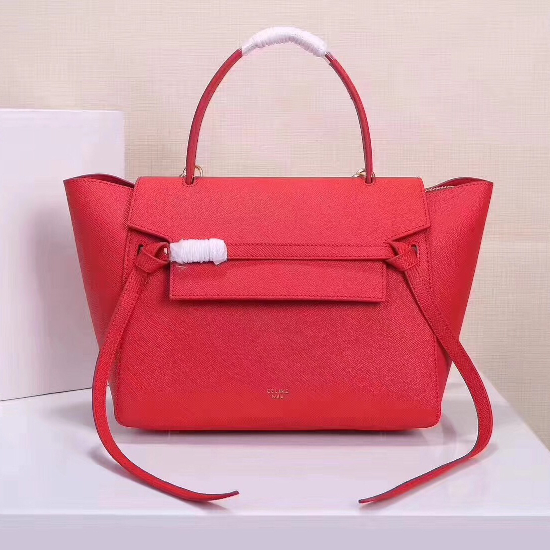 Celine Belt Bag Red Epsom Leather Tote Handbag