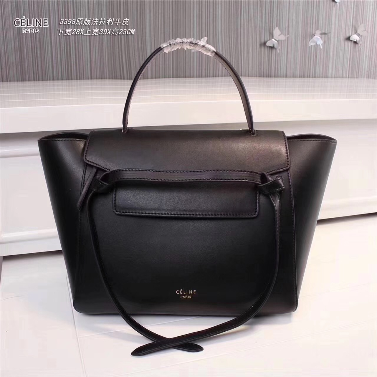 Celine Belt Bag Smooth Leather Tote Handbag Black