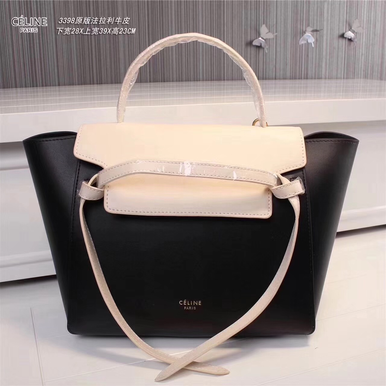 Celine Belt Bag Smooth Leather Tote Handbag Black White