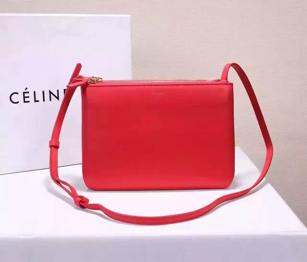 Celine Trio 22cm Leather Crossbody Bag Red