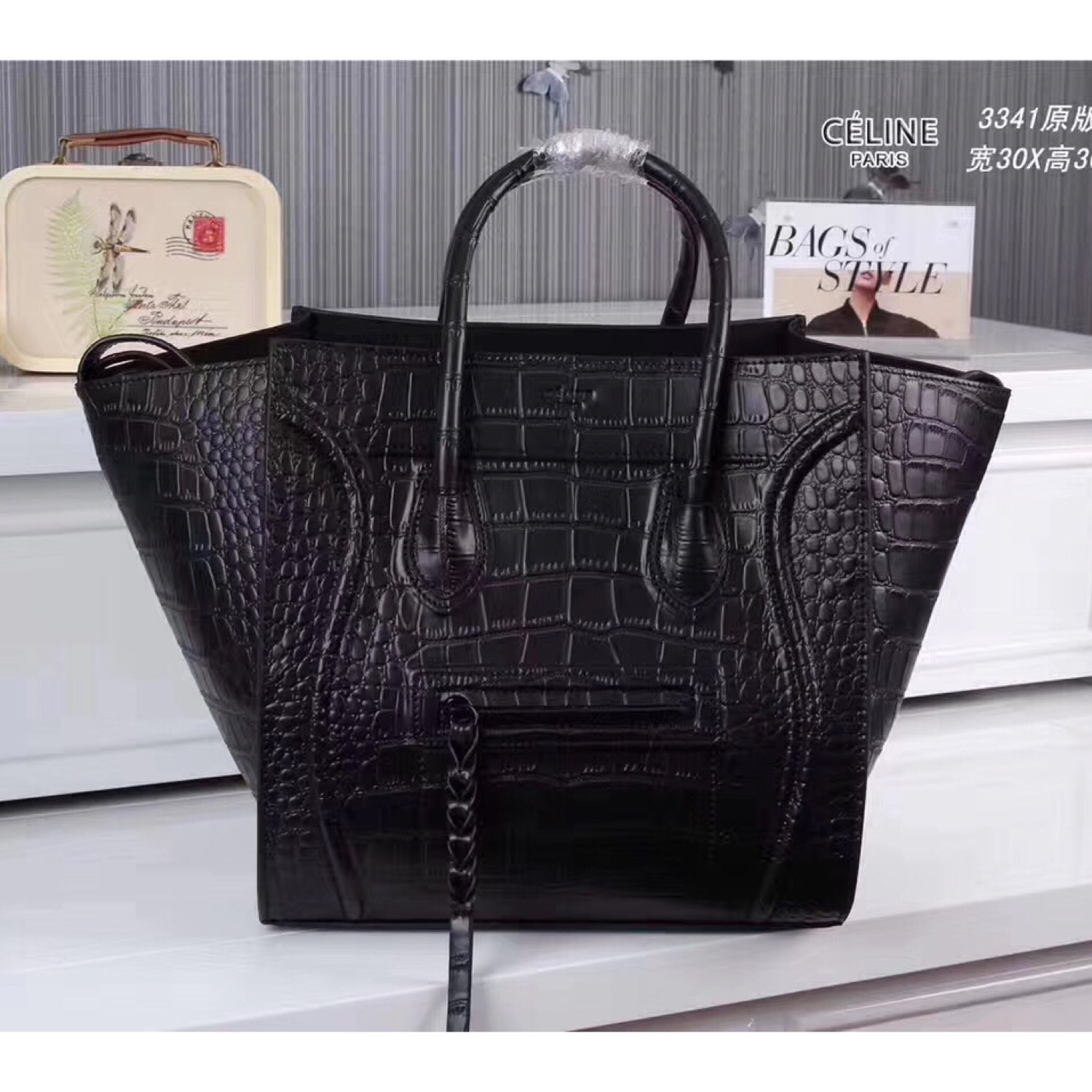 Celine Boston Black Croco Leather Tote Handbag
