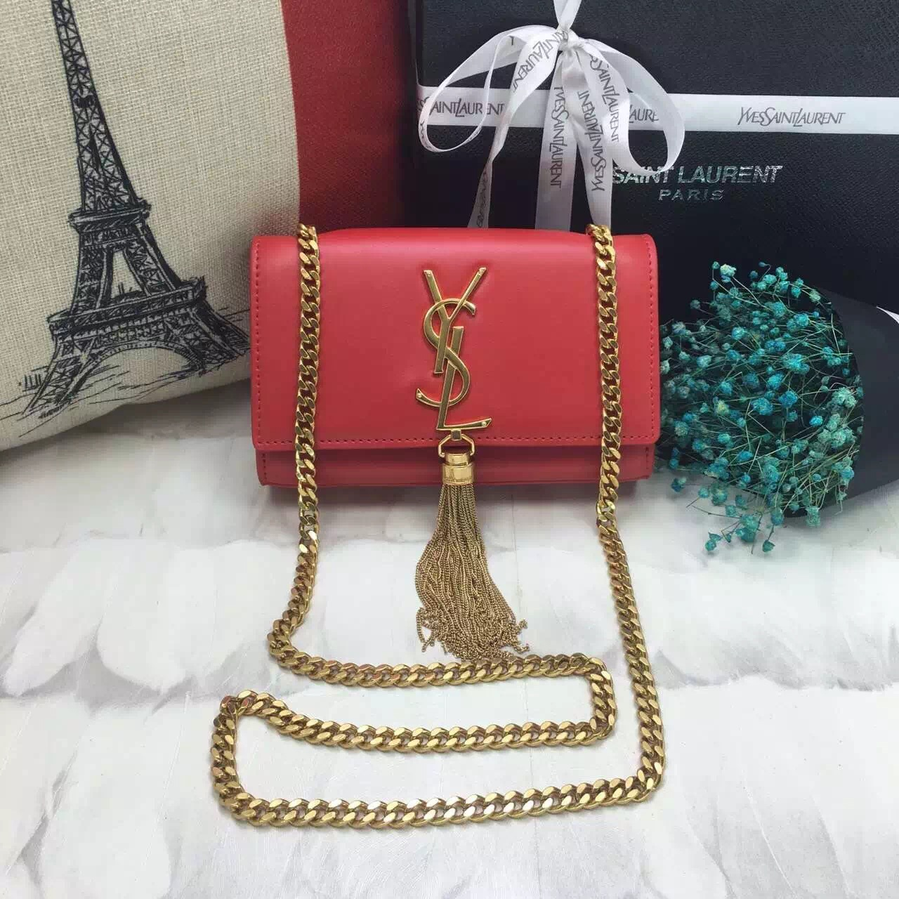 YSL Small Tassel Chain Leather Bag 17cm Red Gold