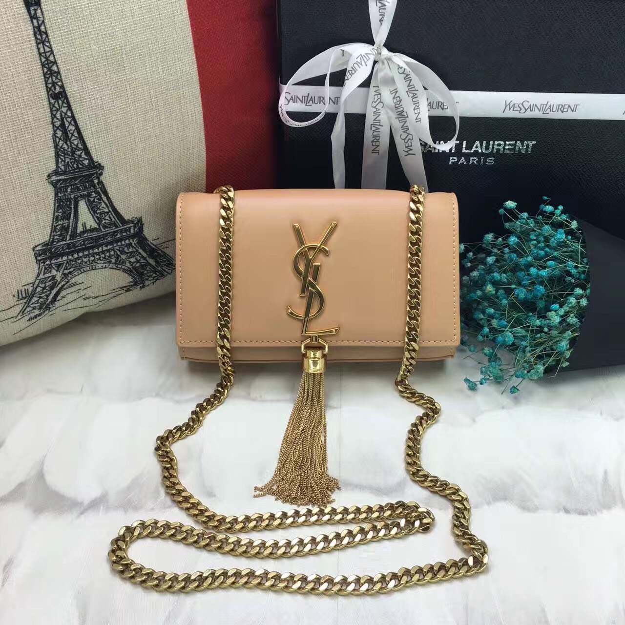 YSL Small Tassel Chain Leather Bag 17cm Apricot Gold