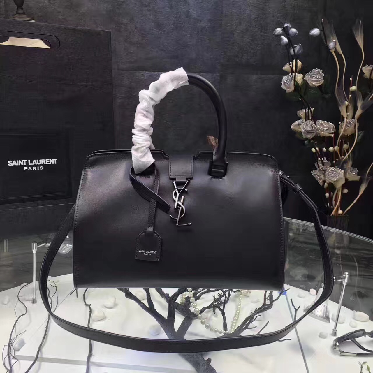 Saint Laurent Cabas Bag 30cm Black Black