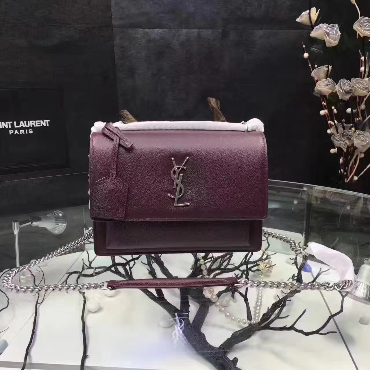 Saint Laurent Sunset 22cm Burgundy Crossbody Bag