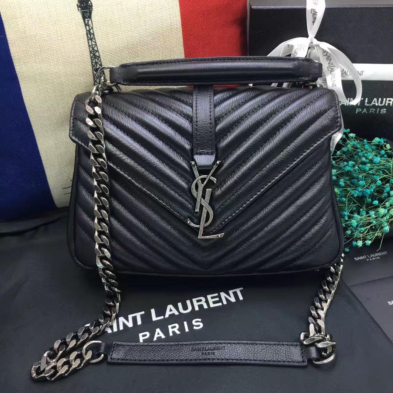 ea096e5eaf YSL Top Handle Shoulder Bag 24cm Black Silver