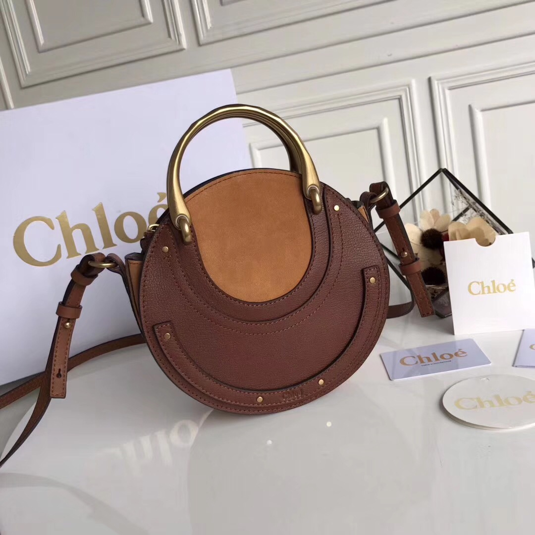 Chloe Small Pixie Leather and Suede Bag Brown