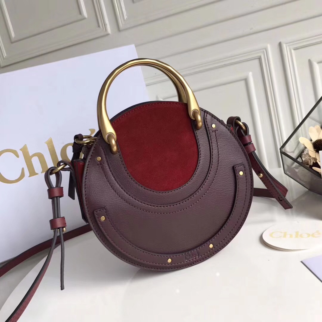 Chloe Small Pixie Leather and Suede Bag Burgundy