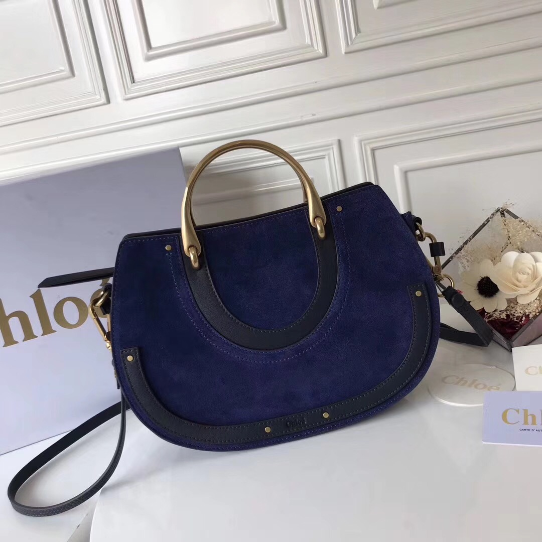 Chloe Large Pixie Leather and Suede Bag Navy