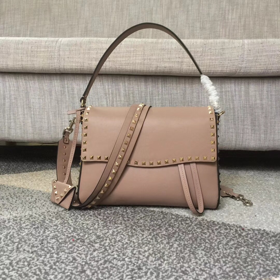 Valentino Rockstud Single Handle Shoulder Bag Nude