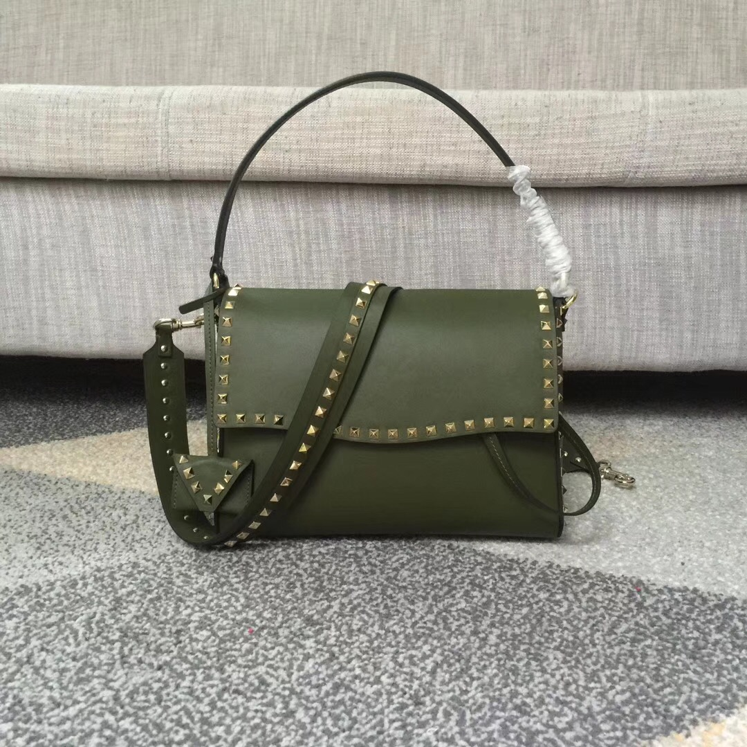 Valentino Rockstud Single Handle Shoulder Bag Green