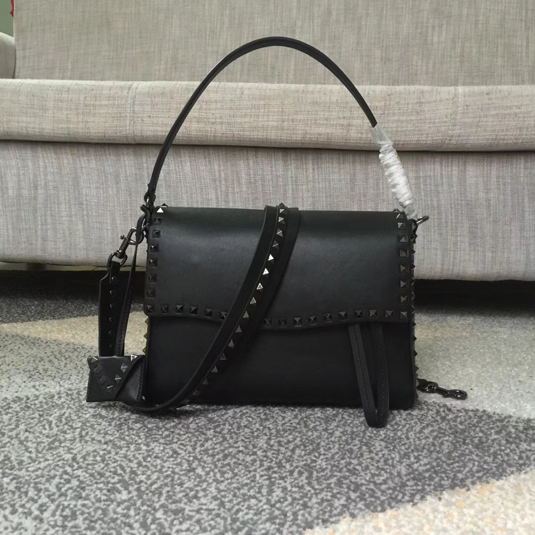 Valentino Rockstud Single Handle Shoulder Bag Black Black