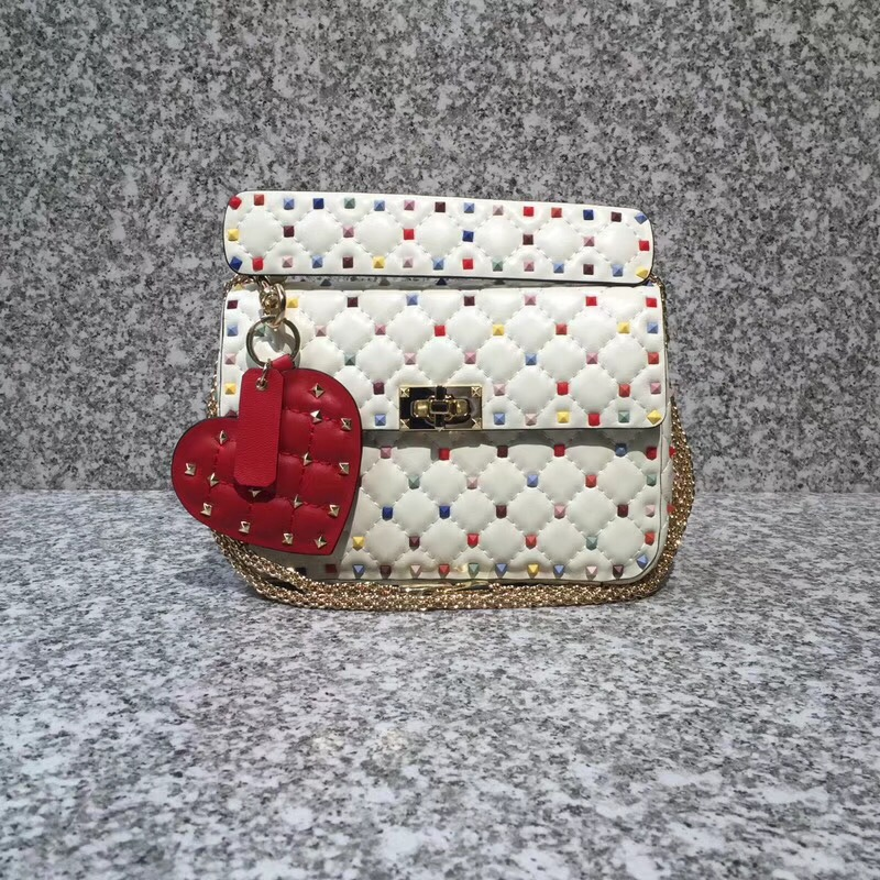 Valentino Rockstud Colorful Spike Medium Chain Bag 24cm White