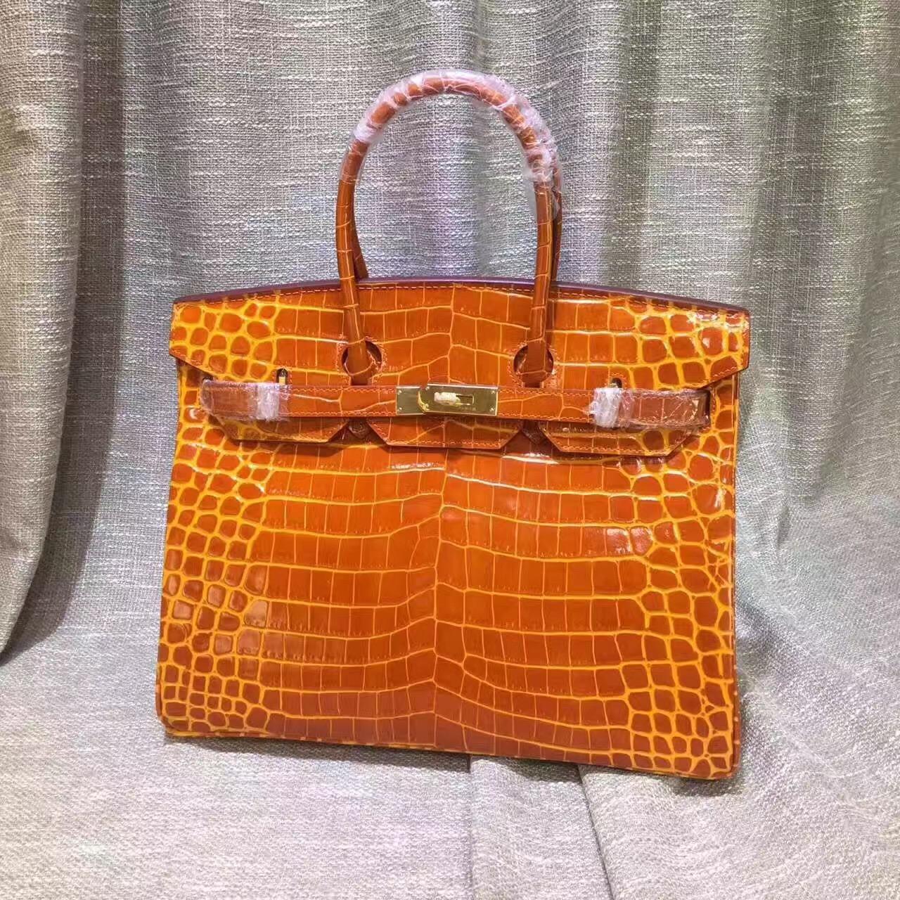 5c07077ecf44 Hermes Birkin 35cm Handbag Crocodile Leather Orange Gold