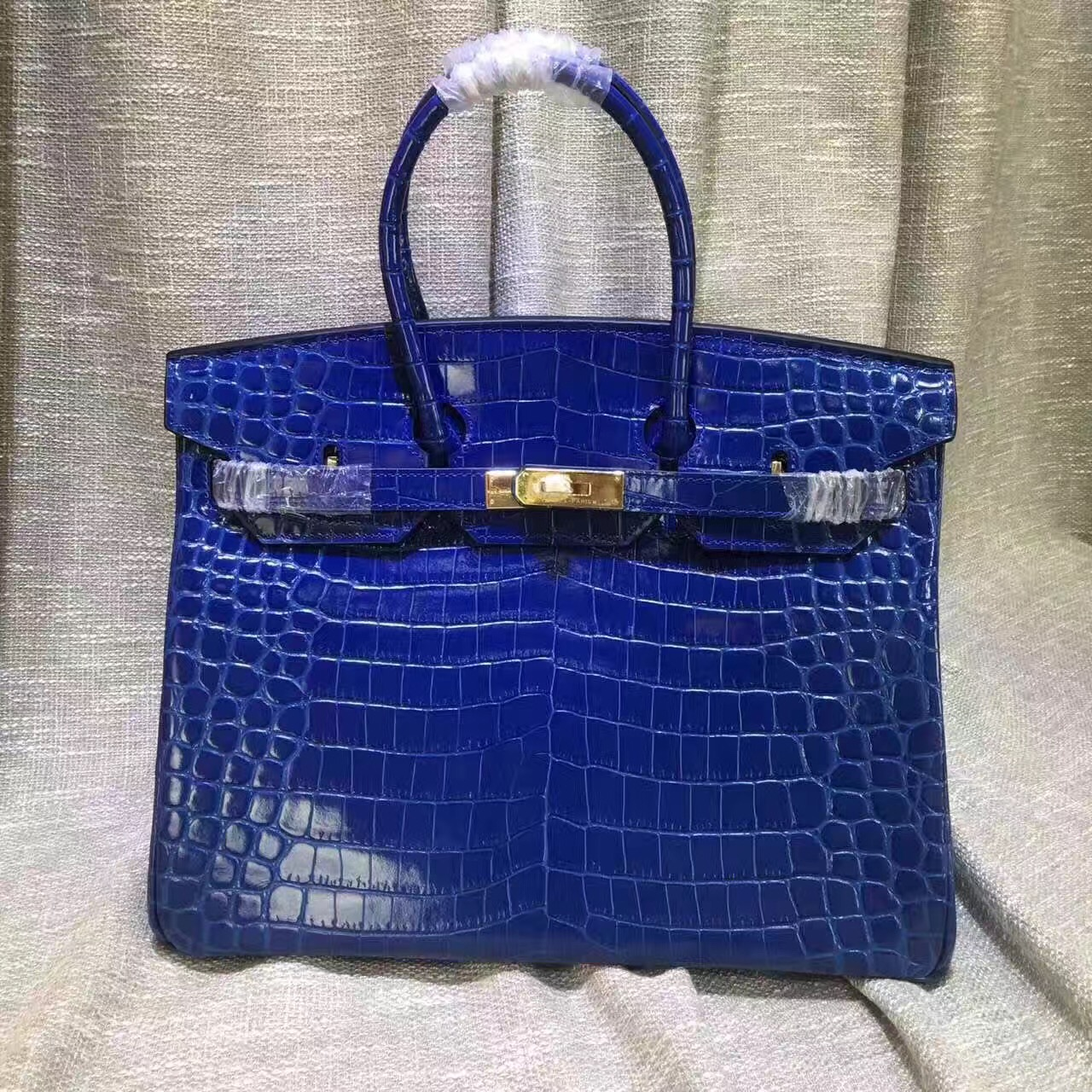Hermes Birkin 35cm Handbag Crocodile Leather Electric Blue Gold