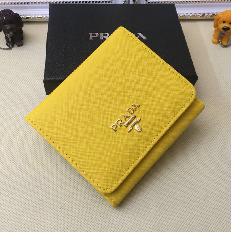Prada 1M0176 Wallets Saffiano Leather in Yellow