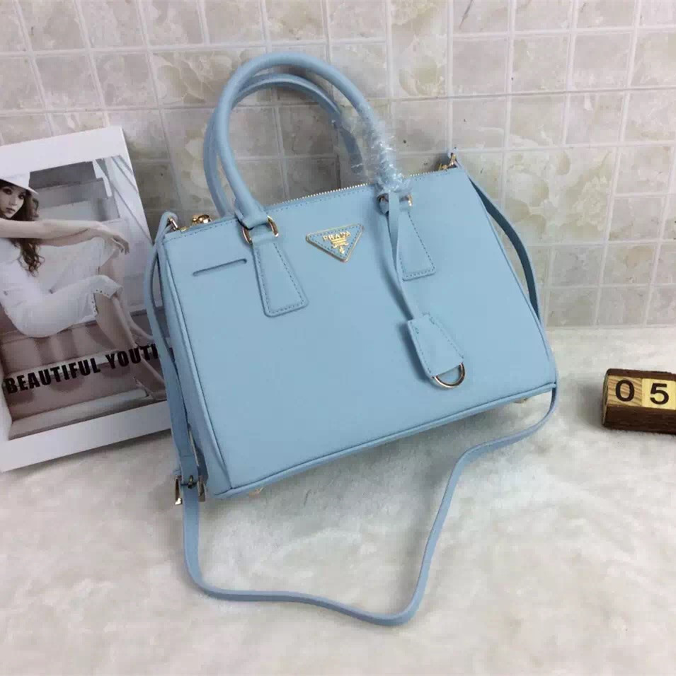 8affaf27a7b3 ... cheap prada galleria bag 1801 saffiano leather 30cm light blue 848dd  f05fd