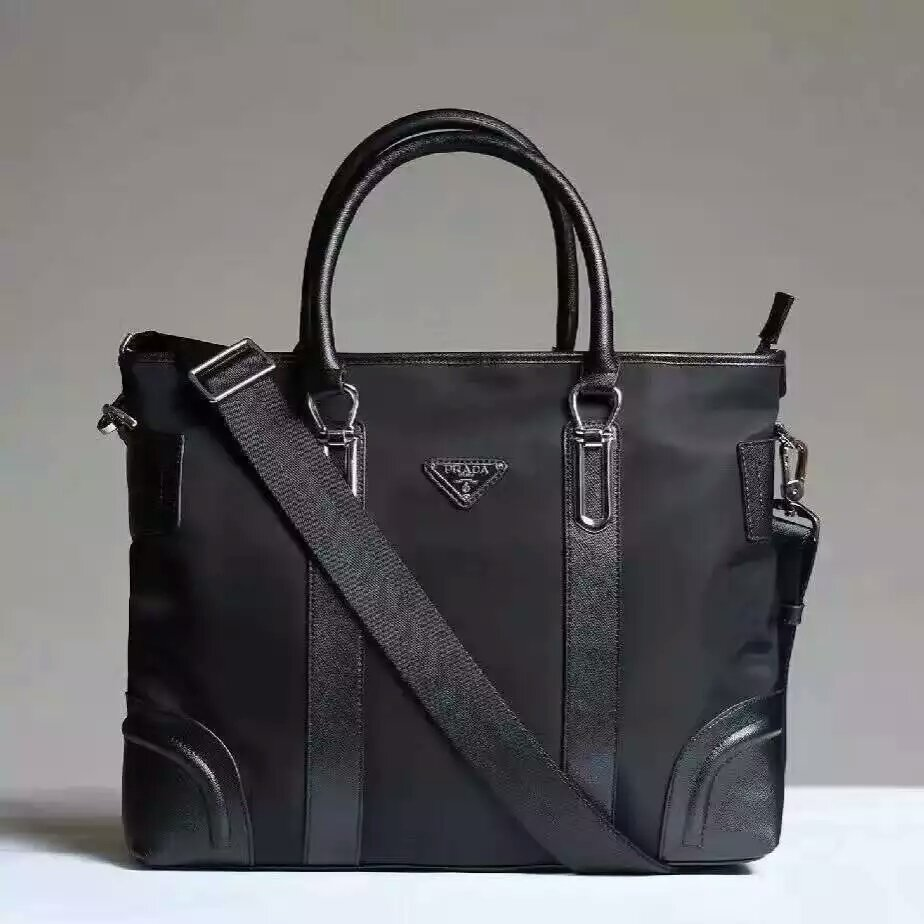 Prada Men's Canvas Tote Bag 0012 Black